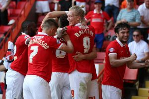 Cause for celebration: The Charlton players Fox's goal