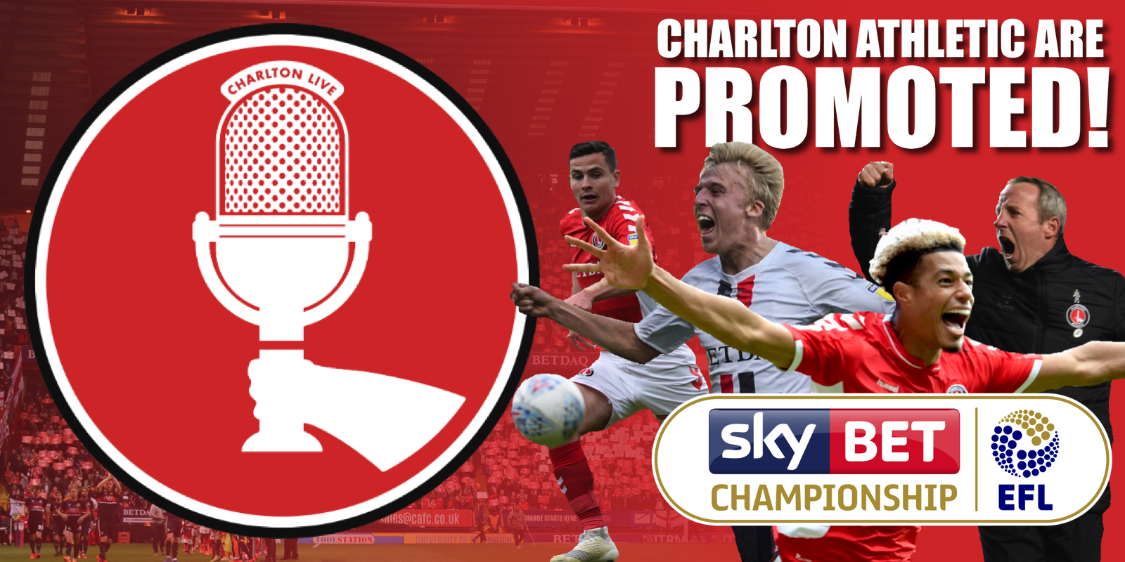 Join Louis Mendez, Tom Wallin, Nathan Muller and Lewis Catt as they celebrate Charlton's promotion to the Championship after the play-off final victory over Sunderland. […]